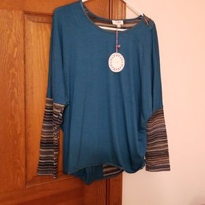 New small teal long sleeve tunic by Umgee .USA